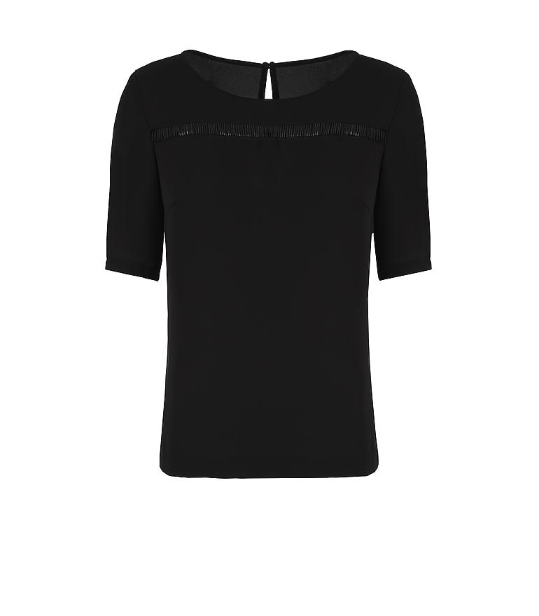 czarna bluzka z prześwitującą wstawką