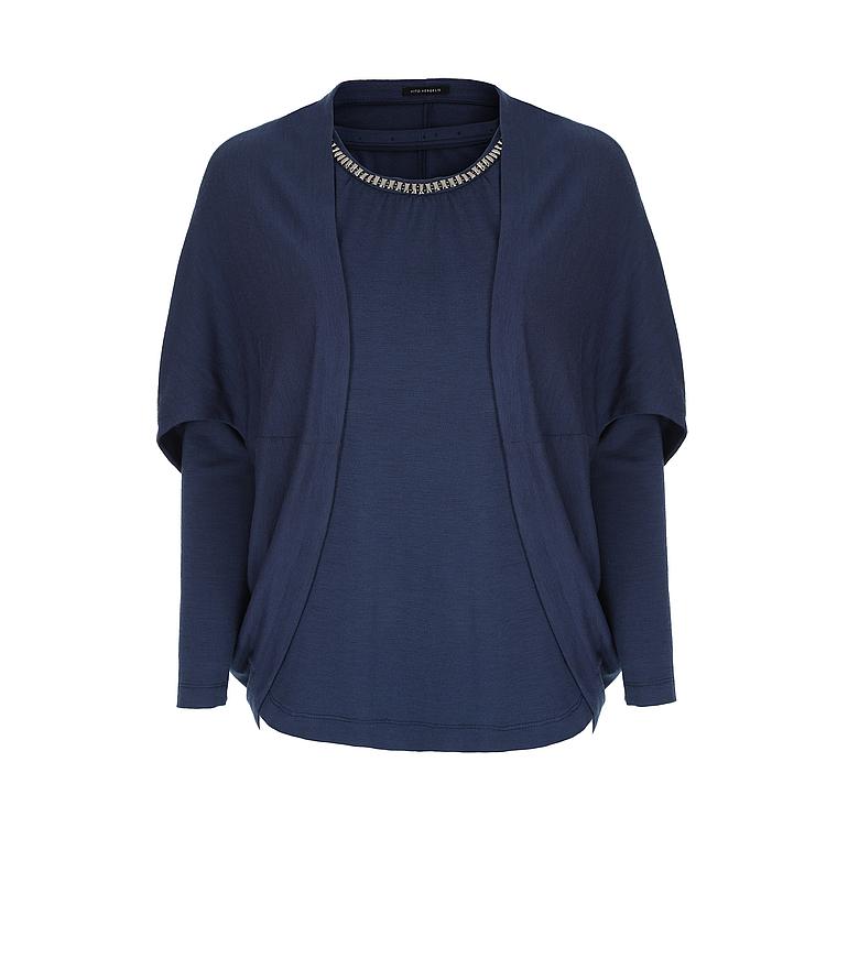 Granatowy, dzianinowy komplet - bluzka z narzutką