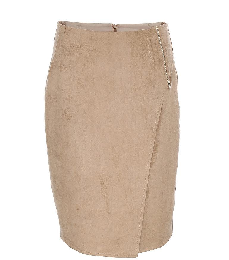 beżowa zamszowa spódnica