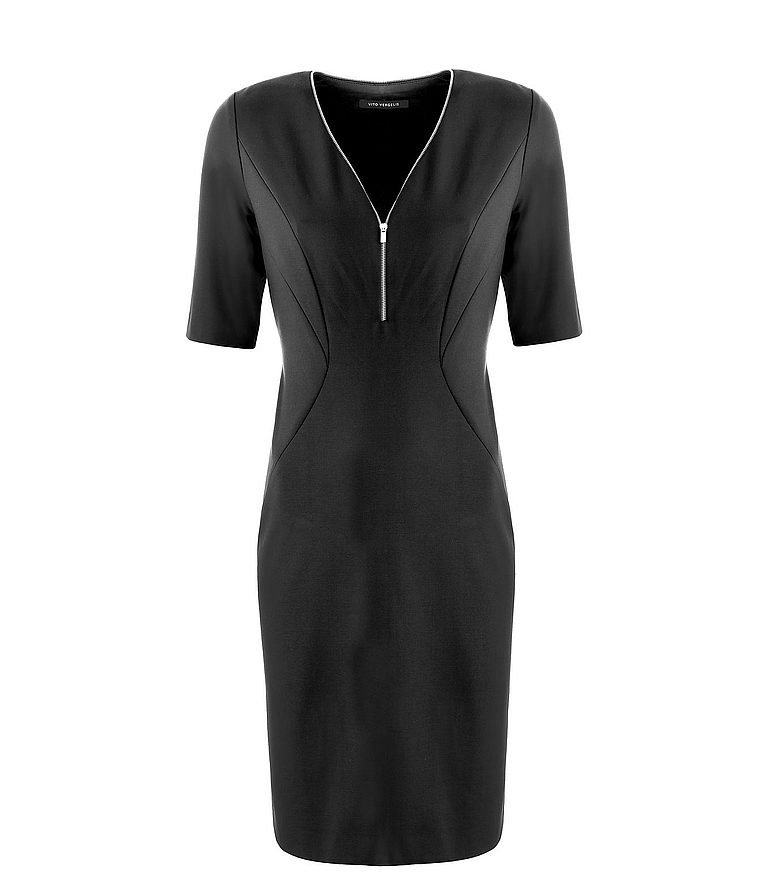 czarna dzianinowa sukienka ze srebrnym suwakiem