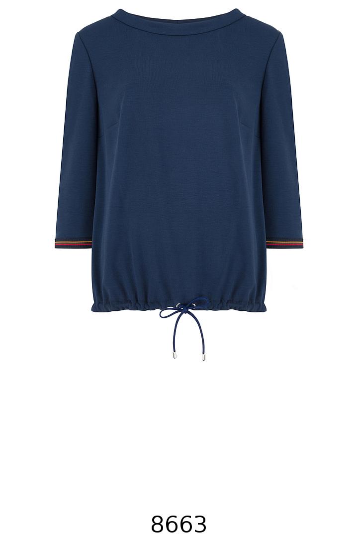 granatowa bluzka z kontrastowym mankietami Vito Vergelis.