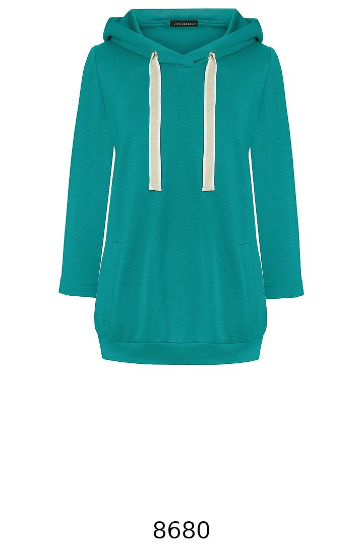zielona bluza z kapturem i kontrastowymi taśmami. Bluza Vito Vergelis.