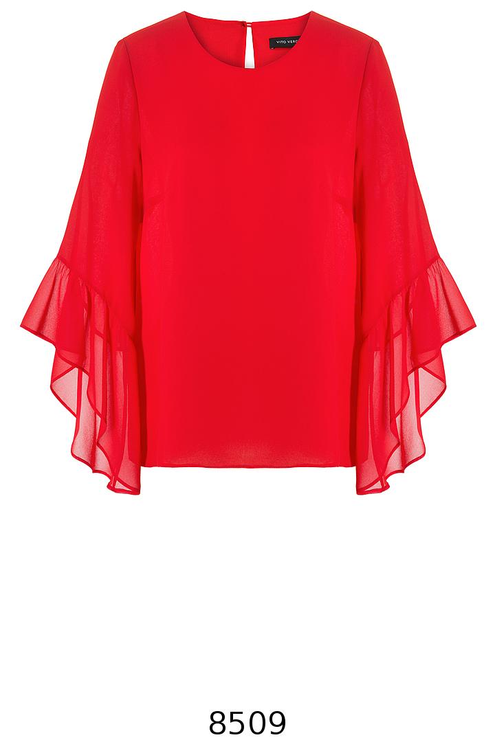 czerwona bluzka z szyfonu z falbaną przy rękawie marki Vito Vergelis