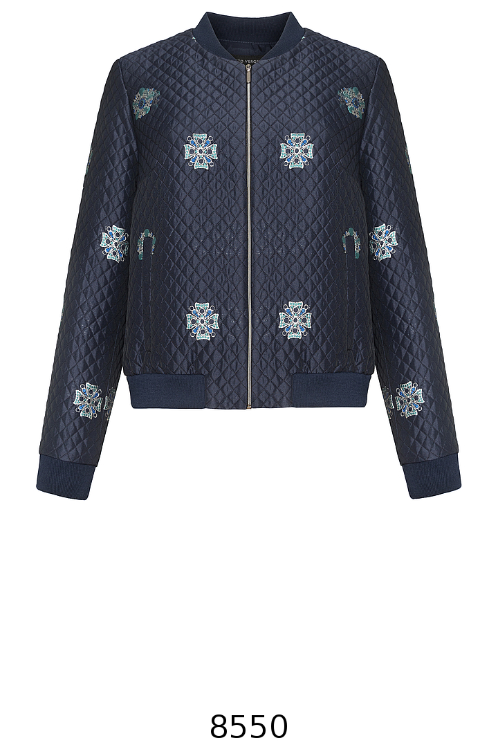 granatowa pikowana kurtka z haftem Vito Vergelis