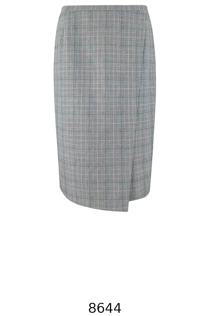 spódnica ołówkowa w zieloną kratkę z asymetrycznym przodem Vito Vergelis