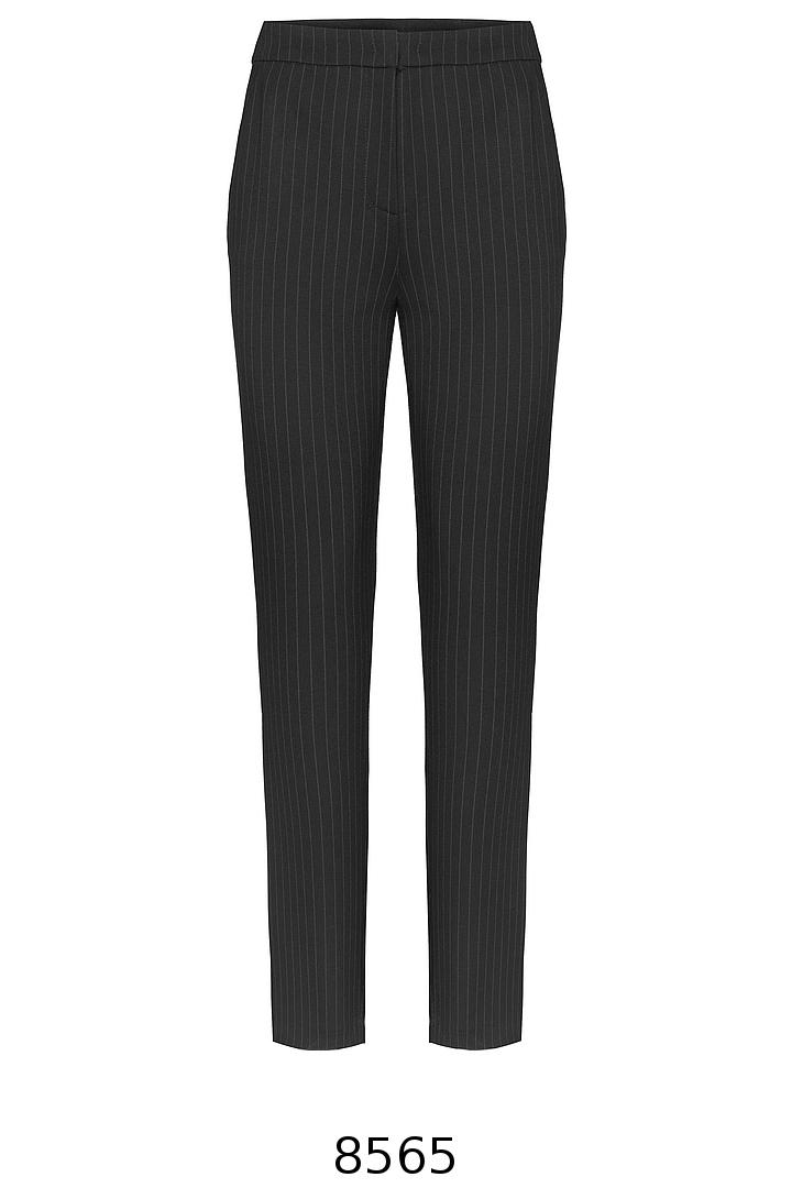 czarne dzianinowe spodnie w prążek Vito Vergelis