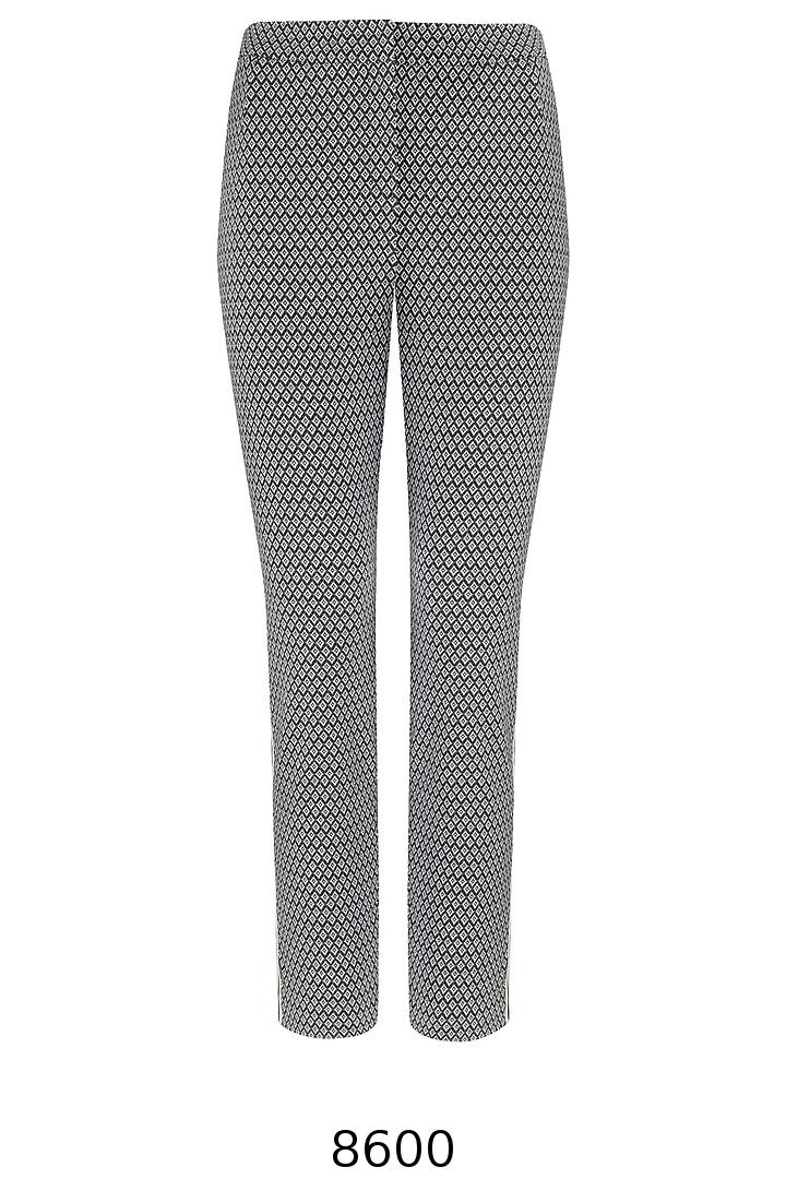 Biało-czarne spodnie z lampasem i gumą Vito Vergelis