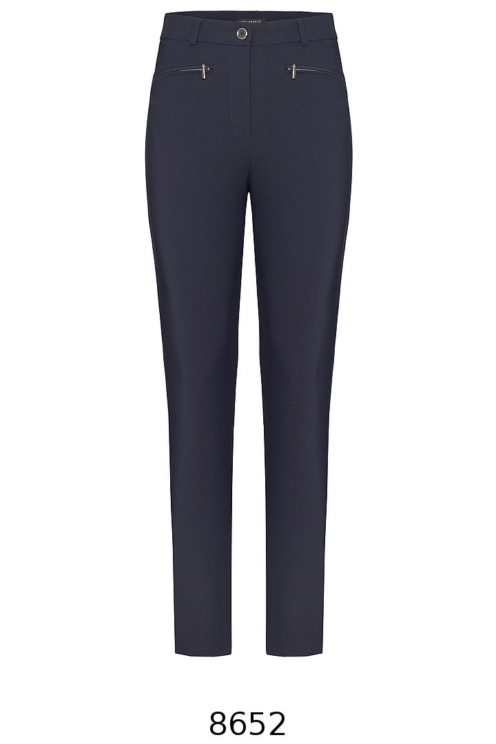 Granatowe spodnie ołówkowe z suwaczkami marki Vito Vergelis