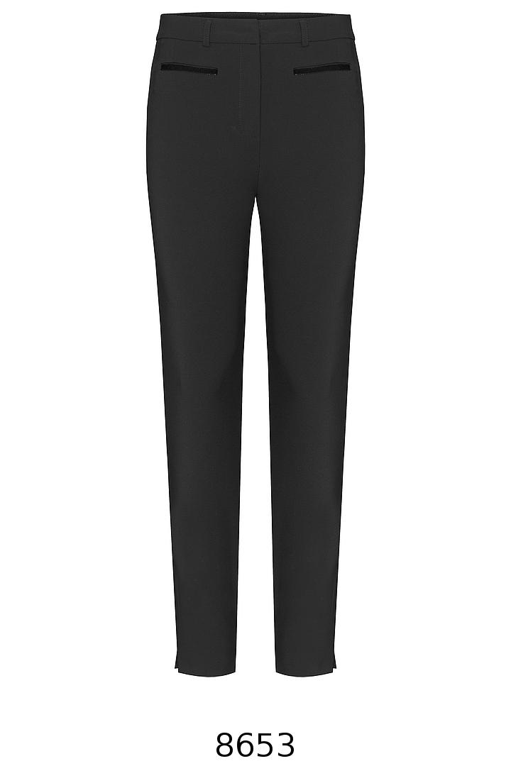Czarne spodnie zwężane z aksamitkami marki Vito Vergelis