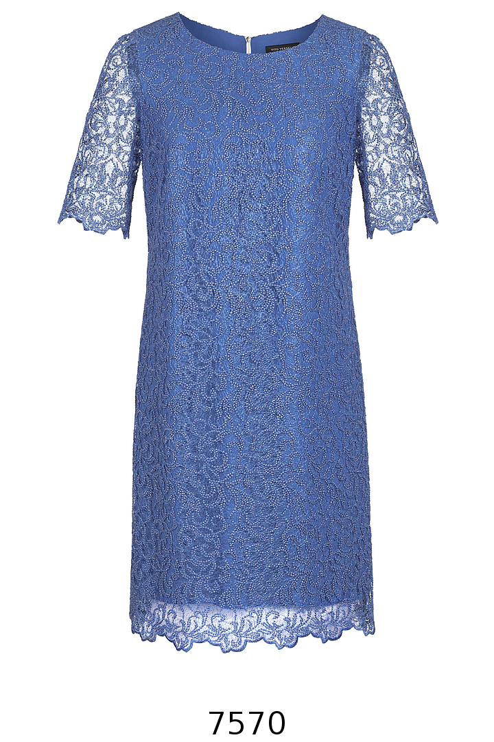 wizytowa sukienka z gipiury niebieska Vito Vergelis