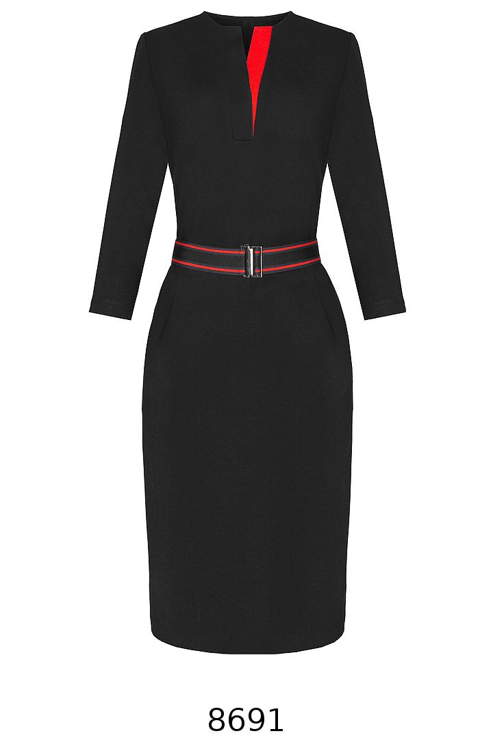 czarna dzianinowa sukienka z kontrastem i paskiem z gumy. Sukienka Vito Vergelis