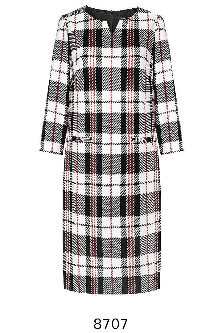 Sukienka w biało-czarno-czerwoną kratę z długim rękawem. Sukienka Vito Vergelis.