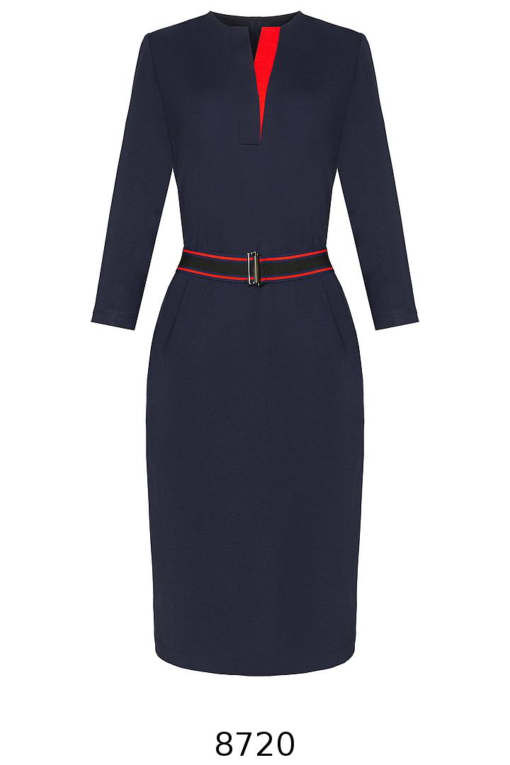 granatowa dzianinowa sukienka z kontrastem i paskiem z gumy. Sukienka Vito Vergelis