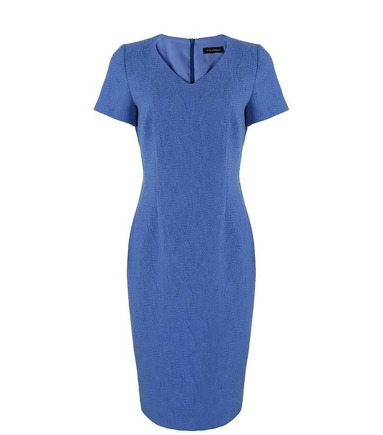 Niebieska sukienka z rękawkiem