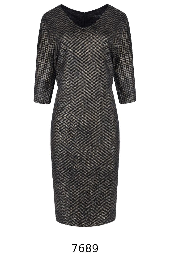 Sukienka w złoty geometryczny wzór Vito Vergelis