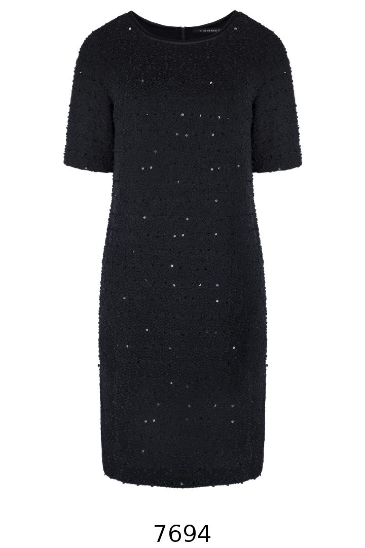 czarna dzianinowa sukienka z cekinami i krótkim rękawkiem Vito Vergelis
