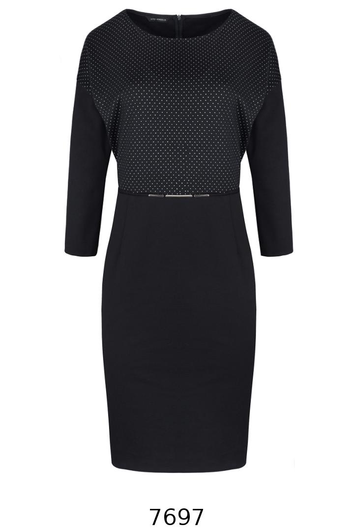 czarna dzianinowa sukienka z długim rękawem ze srebrnymi kropeczkami Vito Vergelis