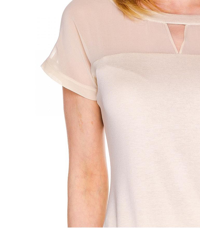 Beżowa bluzka z wycięciem z dzianiny i szyfonu