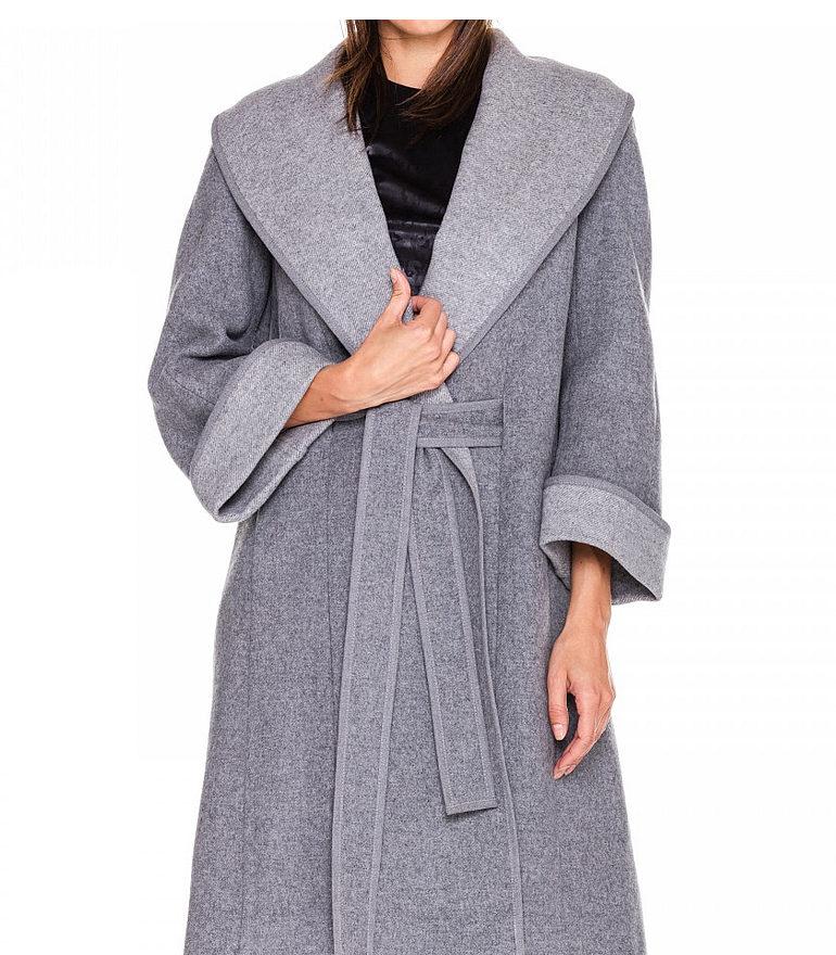 Szary płaszcz z wełny