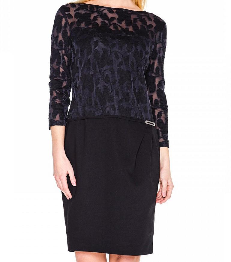 czarna sukienka z ażurową górą