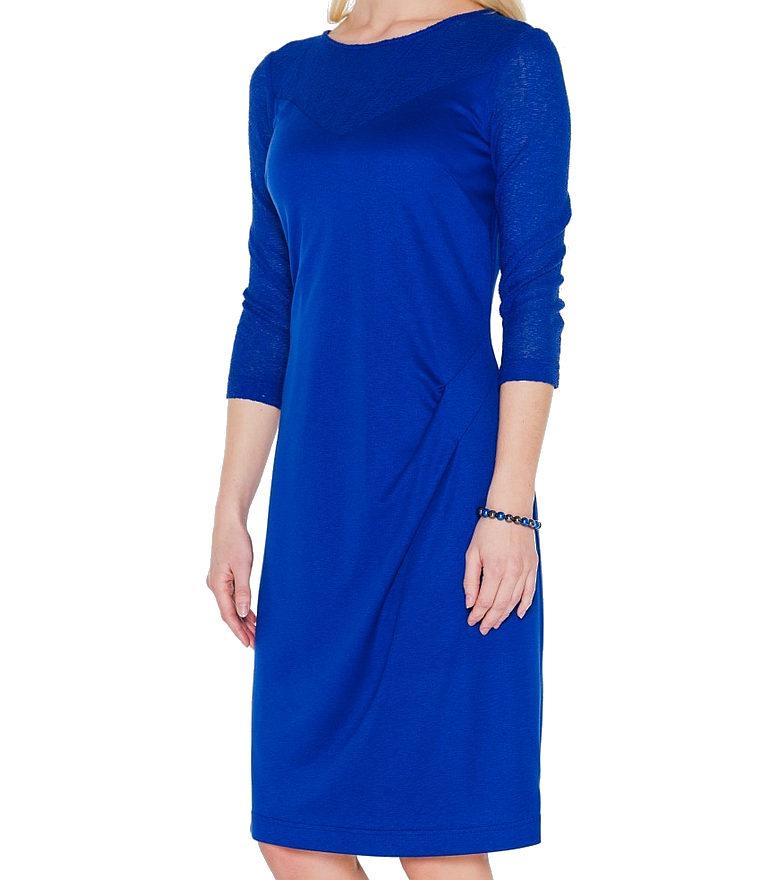 niebieska sukienka z dwóch dzianin