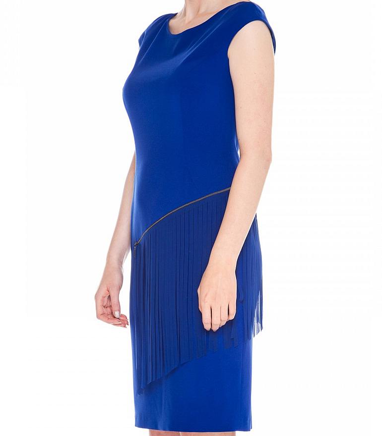 Kobaltowa sukienka z frędzlami