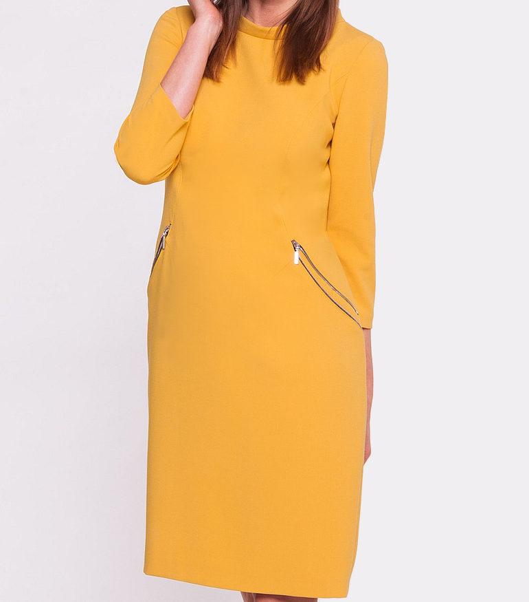 Żółta sukienka z półgolfem
