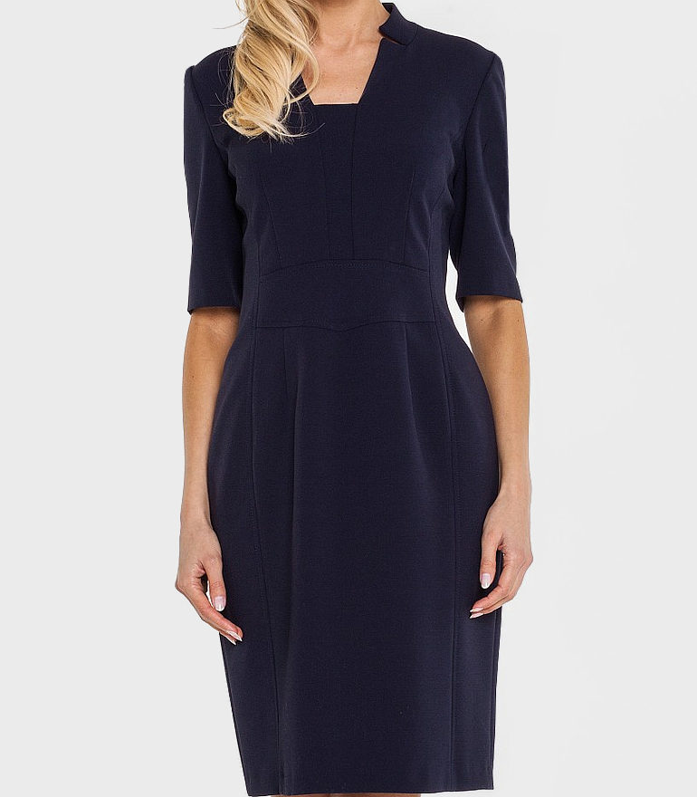 klasyczna granatowa sukienka biznesowa