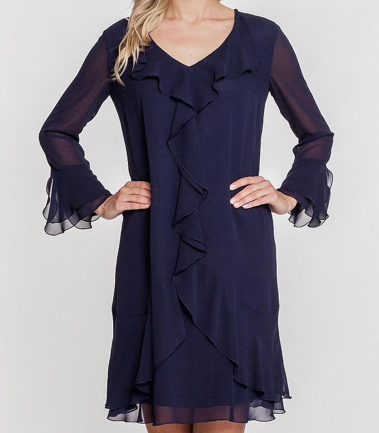 Granatowa sukienka z falbanami
