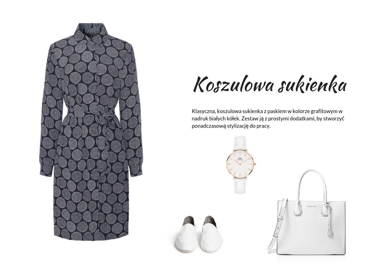 Jak ubrać się do pracy latem - moda biznesowa na upały - grafitowa sukienka koszulowa Vito Vergelis