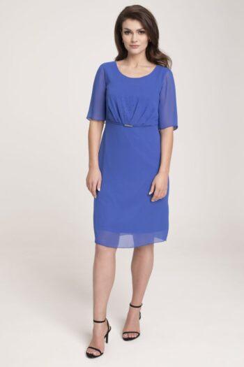 modelka w wizytowej sukience - kobaltowa sukienka z szyfonu marki Vito Vergelis