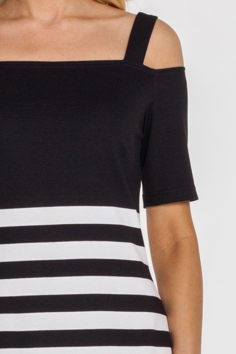 Vito Vergelis sukienka w czarne paski z wycieciami 7129