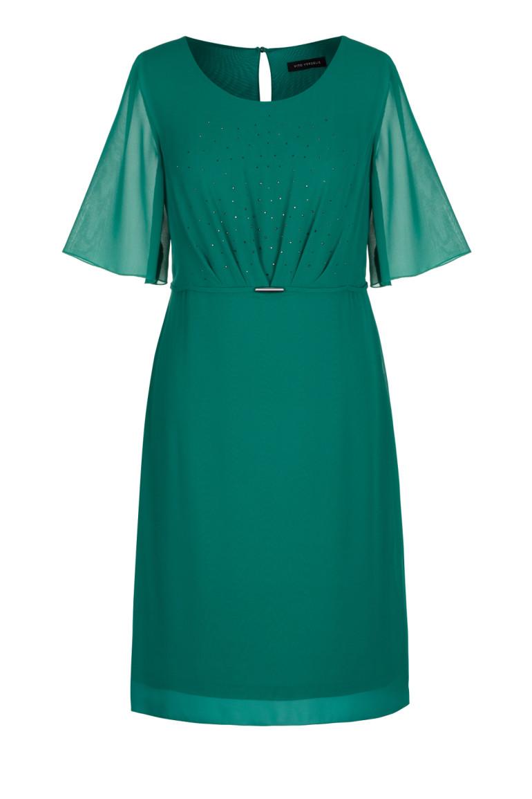 Zielona sukienka z kryształkami