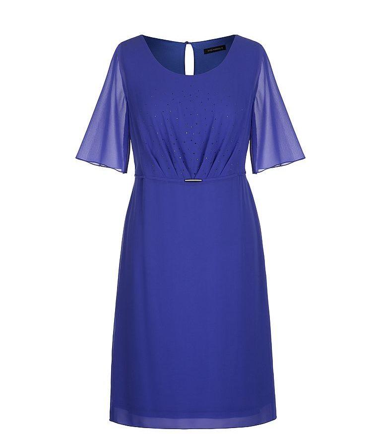 Kobaltowa sukienka z kryształkami