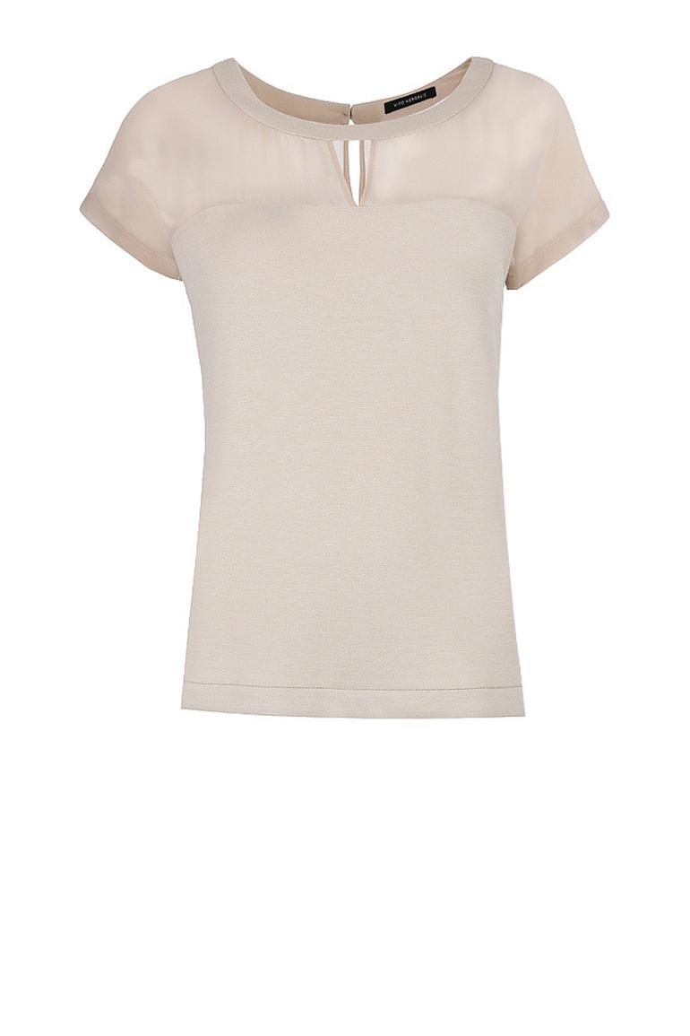 Beżowa bluzka z wycięciem