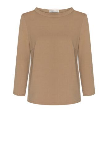 Beżowa bluza damska z lampasami marki Vito Vergelis. Kolor karmelowy