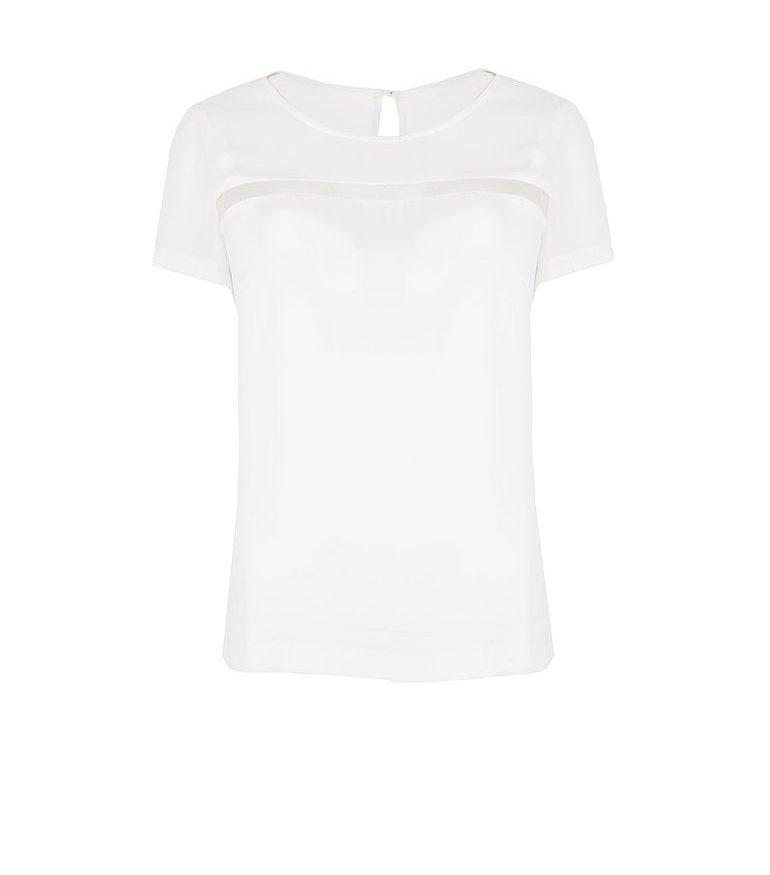 Biała bluzka z prześwitującą wstawką