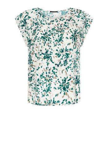 biała bluzka z wiskozy z nadrukiem. Krótki rękaw, półokrągły dekolt. bluzka na lato Vito Vergelis
