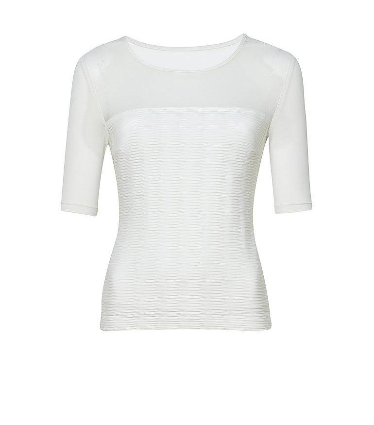 biała bluzka z wstawką z tiulu
