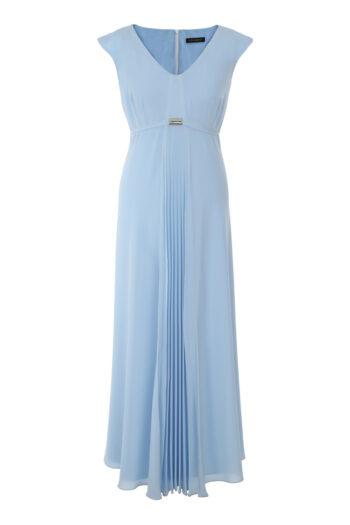 Kolekcja wizytowa. Długa sukienka z plisowaną wstawką. Błękitna sukienka z szyfonu Vito Vergelis.