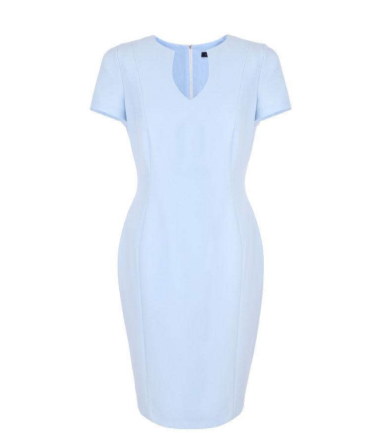 Błękitna sukienka z rękawkiem
