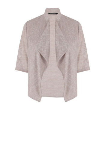 beżowa narzutka Vito Vergelis. Dzianinowy, krótki sweterek na sukienkę.