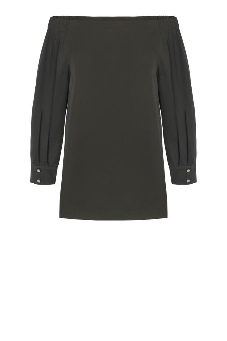 zielona bluzka damska z dekoltem carmen. bluzka hiszpanka polskiej marki Vito Vergelis