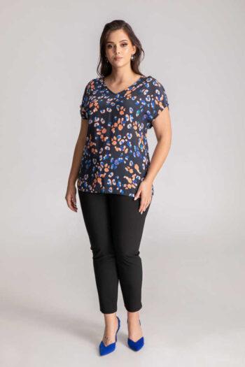 bluzka damska z wiskozy z cupro - niebieska bluzka oversize marki Vito Vergelis