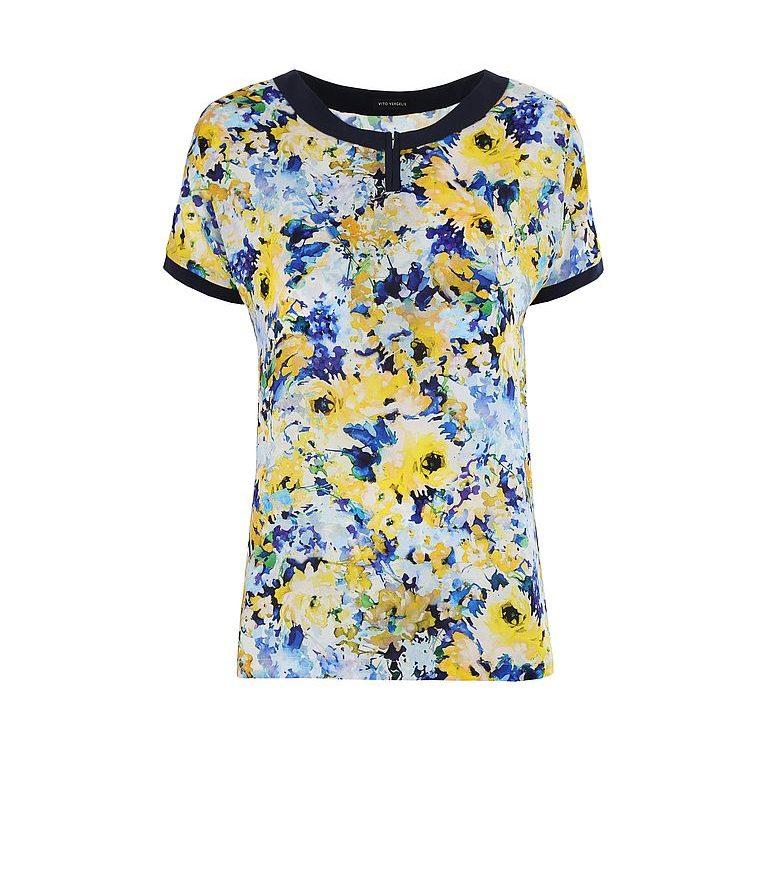Bluzka w żółte kwiaty z suwakiem