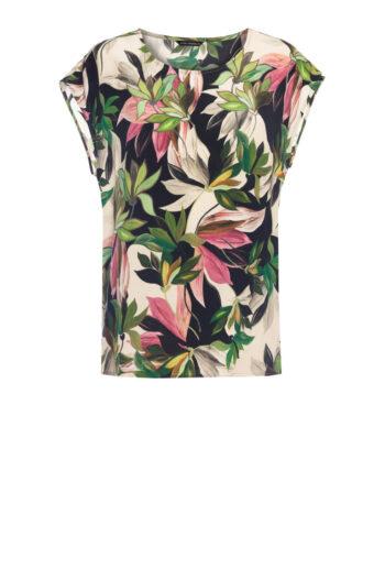 Bluzka z wiskozy cupro w nadruk liści i kwiatów marki Vito Vergelis