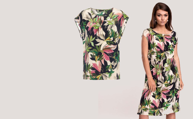 ubrania sukienki i bluzki w kwiaty modna wiosna 2021 polska marka Vito Vergelis rozmiary plus size