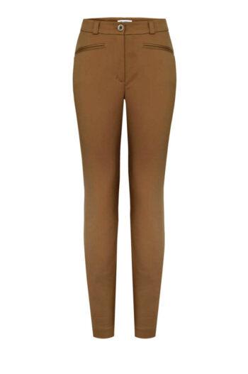brązowe spodnie damskie z rayonu i bawełny marki Vito Vergelis