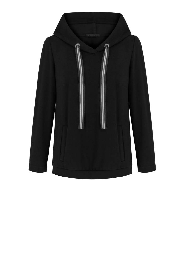 czarna bluza damska z kapturem i taśmą polskiej marki Vito Vergelis