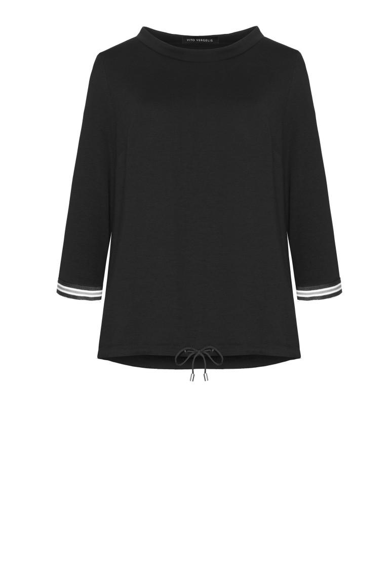 Linia basic Vito Vergelis. Czarna bluza dresowa ze stójką i taśmami.